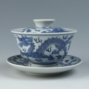 Antique Chinese Blue and White Porcelain Tea Bowl and Plate Set