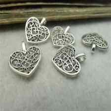 100pc Tibetan Silver Dangle heart Flower Charms Beads Jewellery Craft KM035