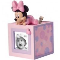 Disney Precious Moments 152702 Baby Minnie Photo Cube Bank New & Boxed