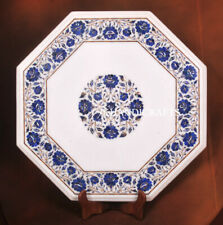 "21"" White Marble Stunning Table Top Gemstone Inlaid work Hallway Decor Gifts"