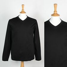 MENS TOMMY HILFIGER PLAIN BLACK V-NECK T-SHIRT LONG SLEEVE PULLOVER TOP SMART M