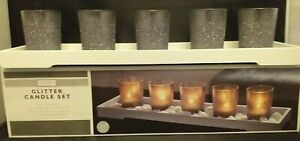 NEW GREY 5 GLITTER CANDLE SET GLASS VOTIVE  WITH WOODEN BASE WHITE RIVER ROCKS