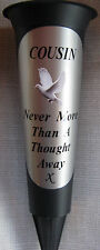 COUSIN Memorial Flower Vase Black Silver  Dove In Loving Memory Grave Spike