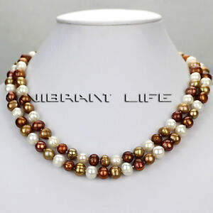 """34"""" 7-9mm MultiColor Natural Fresh Water Pearl Necklace M4"""
