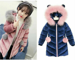 Kids Girls Thick Winter Warm Velvet Quilted Jacket Fur Collar Parka Hooded Coat