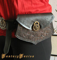 Medieval Lord Celtic Wolves Viking Larp Leather Belt Pouch