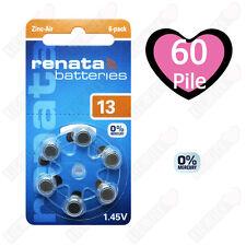 60 Batterie Pile per apparecchi acustici RENATA MARATONE ZA13 PR48 P13 13