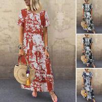 Mode Femme 100% coton Loisir Robe Imprimer Manche Courte Dresse Longue Plus