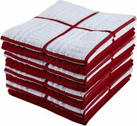 "Be Eco-Friendly! 12""x12"" Set of 8 Plaid Red Cotton Terry Kitchen Dishcloths"