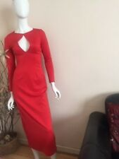 Red plunge fitted long dress