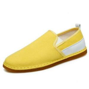 Mens Canvas Pumps Loafers Shoes Slip on Driving Moccasins Soft Comfy Breathable