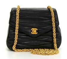 CHANEL BLACK QUILTED LAMBSKIN VINTAGE SINGLE FLAP BAG  HB163
