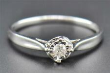 Round Diamond Solitaire Engagement Ring Ladies 10K White Gold Promise 0.08 Ct