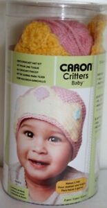 Caron Critters Baby Hat Kit Pink With Yellow Crown Knit Crochet 3 - 24 Month NIP