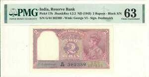 India 2 Rupees Currency Banknote 1943 PMG 63 CHOICE UNC