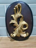 Vintage Florentine Rococo Style Gold Leaf Crest Wall Plaque
