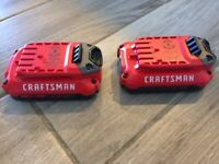 2 x NEW Craftsman CMCB201 Genuine OEM V20 Lithium Ion Battery with Fuel Gauge