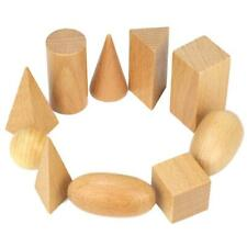 Baby Kids Wooden Geometric Solids Shapes Montessori Learning Education Math Toys