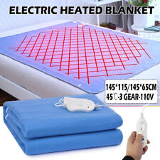 145*115cm Electric Heated Throw Over Under Blanket Fleece Washable Warm