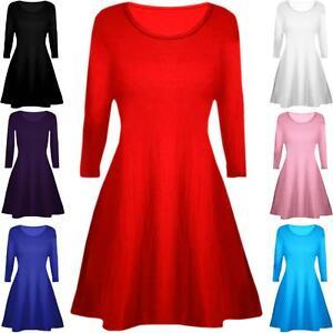 Swing Dress Mini Skater Round Neck Long Sleeve Kids Girls Childrens Top Age 5-13