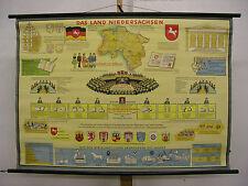 School Wall Map Land Niedersachsen Hanover VW-Country Wolfsburg 117x82cm Vintage