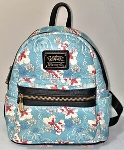 LOUNGEFLY POKEMON GOLDEEN TROPICAL LOTUS FLOWER FLORAL MINI BACKPACK BAG
