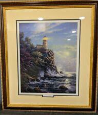"S/N Thomas Kinkade 27x31 Serigraph w/Coa ""Lighthouse"" Framed Print Picture"