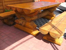 TOP! RBSGRL2m Rundbohlen Garten Sitzgarnitur Tisch 2 Bänke Biergarten Sitzgruppe