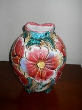 Large ITALIAN POTTERY Floral Decorated Footed Lamp Base Or Vase