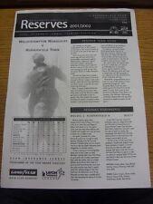 30/01/2002 Wolverhampton Wanderers Reserves v Huddersfield Town Reserves  (Singl