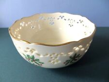 Lenox BOWL Holiday Dimension Collection Christmas Holly Cut Out Gold Trim 6 inch