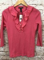 Lauren Ralph Lauren thermal vneck shirt ruffle womens medium new pink henley G6