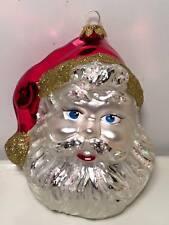 Blown mercury glass Santa Christma tree ornament sign by the artist 2003 poland