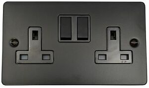 G&H FFB10B Flat Plate Matt Black 2 Gang Double 13A Switched Plug Socket