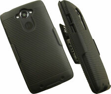 BLACK RUBBERIZED CASE STAND BELT CLIP HOLSTER FOR MOTOROLA DROID TURBO XT1254
