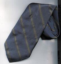 cravate soie Daniel Hechter fond bleu avec petite rayure verte et marron