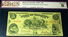 1937 $5 Bank Of Toronto (Canada Chartered Banknote)