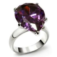 045 BIG 9CT PEAR CUT AMETHYST SIMULATED DIAMOND RING STAINLESS STEEL SOLITAIRE