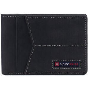 Alpine Swiss Mens Slimfold Wallet RFID Blocking Genuine Leather Thin Bifold FPW