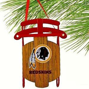 WASHINGTON REDSKINS METAL SLED CHRISTMAS ORNAMENT WITH INDIAN HEAD LOGO ON SEAT