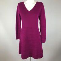 Krimson Klover Womens Purple Long Sleeve Sweater Dress Large 100% Merino Wool