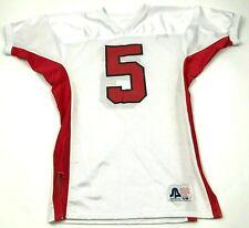 VINTAGE Belle Football Jersey Size s - M White Red Short Sleeve V-Neck 80's USA