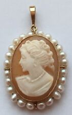 14 K YELLOW GOLD PEARL SHELL CAMEO PENDANT