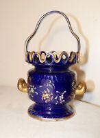 unique antique hand painted porcelain cobalt gold gilded basket style vase pot