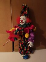 Clown Wind up  Musical  with Motion Harlequin Jester Porcelain  figurine