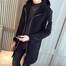 Winter Men's Hooded Mid Length Sueded Trench Coat Lambwool Fleece Lined Korean