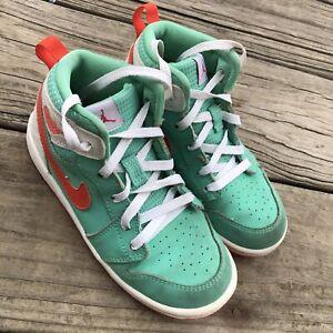Nike Air Jordan 1 Mid Toddler Girls Size 10c Mint Green and Orange