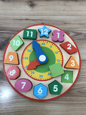Wooden Clock Puzzle Shape Kids Learning Home School Learning Clock Tell The Time