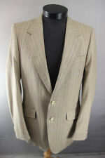 "VINTAGE 1980s BRITISH MADE AQUASCUTUM PURE WOOL WORSTED STRIPED JACKET 38""(LONG)"