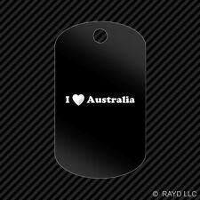 I Love Australia Keychain GI dog tag engraved many colors